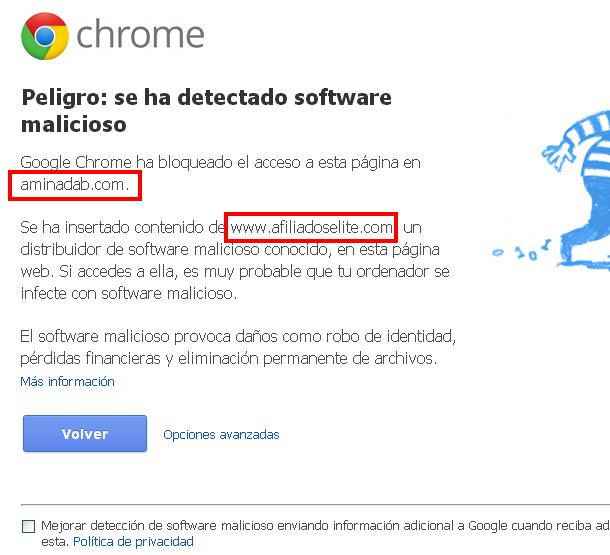 infecciones maliciosas en google chrome